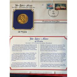 President Medals Cover Collection 1992 JOHN QUINCY ADAMS with Stamps