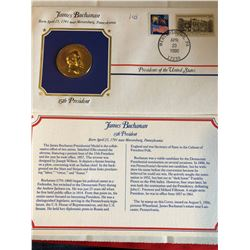 President Medals Cover Collection 1990 JAMES BUCHANAN with Stamps