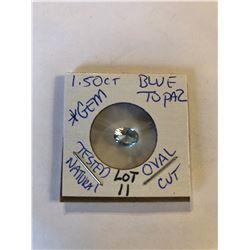 1.50 Carat Large Blue Topaz Oval Cut *GEM* Tested Natural