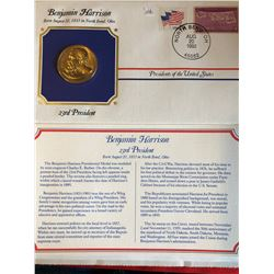 President Medals Cover Collection 1992 BENJAMIN HARRISON with Stamps