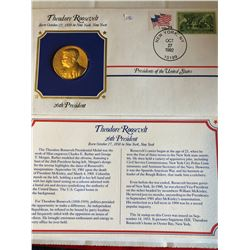 President Medals Cover Collection 1992 THEODORE ROOSEVELT with Stamps
