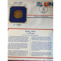 President Medals Cover Collection 1992 GEORGE BUSH with Stamps