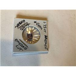 1.75 Carat LARGE Amethyst Emerald Cut GEM Tested Natural