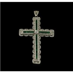1.52 ctw Emerald and Diamond Pendant - Platinum