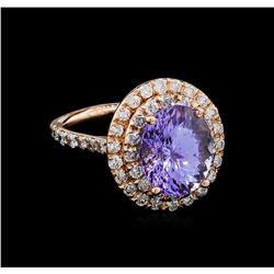5.53 ctw Tanzanite and Diamond Ring - 14KT Rose Gold
