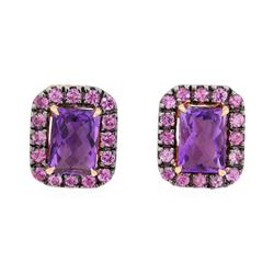 2.50 ctw Pink Sapphire and Amethyst Earrings - 14KT Rose Gold