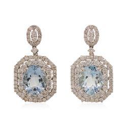 18KT White Gold 6 ctw Aquamarine and Diamond Earrings