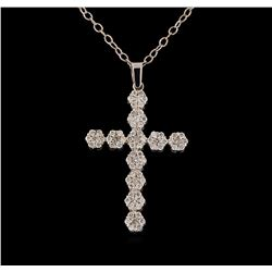 1.03 ctw Diamond Pendant With Chain - 14KT White Gold