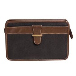 Dunhill Brown Black Canvas Leather Clutch Bag