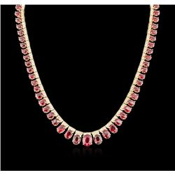 14KT Yellow Gold 48.12 ctw Ruby and Diamond Necklace