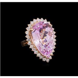 26.32 ctw Kunzite and Diamond Ring - 14KT Rose Gold