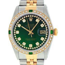 Rolex Mens 2 Tone 14K Green String Diamond & Emerald Datejust Wristwatch