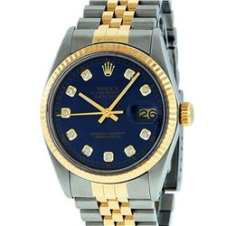 Rolex Mens 2 Tone 14K Blue Diamond 36MM Datejust Wriswatch