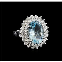 5.26 ctw Aquamarine and Diamond Ring - 14KT White Gold