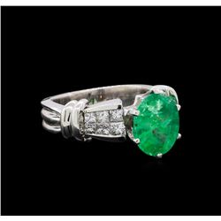 2.60 ctw Emerald and Diamond Ring - Platinum