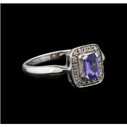 14KT White Gold 0.64 ctw Tanzanite and Diamond Ring