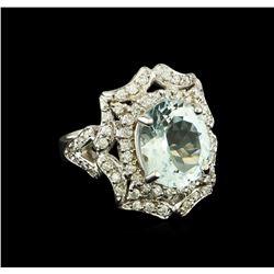 4.03 ctw Aquamarine and Diamond Ring - 14KT White Gold