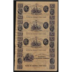 Uncut Sheet of $10 New Orleans Canal & Banking Company Obsolete Notes
