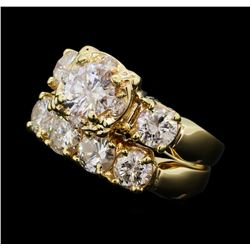2.97 ctw Diamond Ring Soldered To Wedding Band - 14KT Yellow Gold