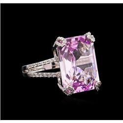 18.00 ctw Kunzite and Diamond Ring - 18KT White Gold