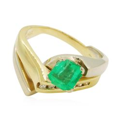 1.2 ctw Emerald Ring - 14KT Yellow Gold