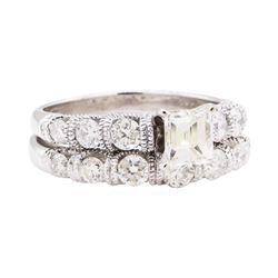 1.68 ctw Diamond Ring And Attached Band - 14KT White Gold