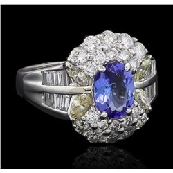 1.17 ctw Tanzanite and Diamond Ring - 18KT White Gold