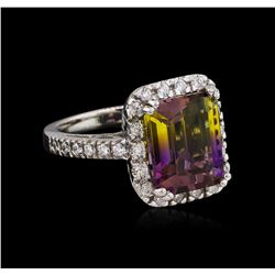 5.88 ctw Ametrine and Diamond Ring - 14KT White Gold