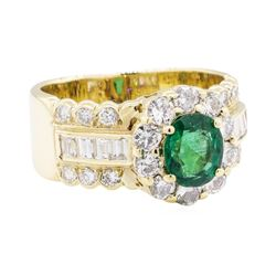 2.04 ctw Emerald And Diamond Ring - 14KT Yellow Gold