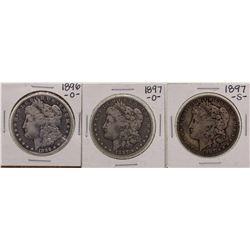Lot of 1896-O, 1897-O & 1897-S $1 Morgan Silver Dollar Coins