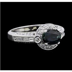 1.51 ctw Sapphire and Diamond Ring - 18KT White Gold