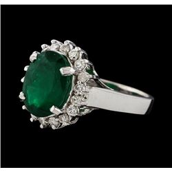3.27 ctw Emerald and Diamond Ring - 14KT White Gold