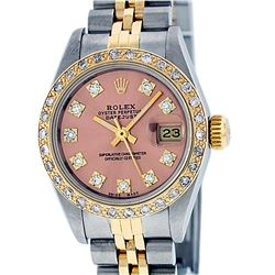 Rolex Ladies 2 Tone 14K Salmon Diamond Datejust Wristwatch