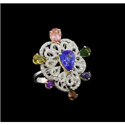 6.40 ctw Multi Gemstone and Diamond Ring - 14KT White And Yellow Gold