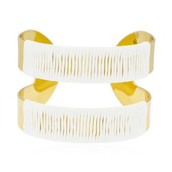 Double Metal Strand Leather Cuff Bracelet - Gold Plated
