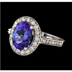 3.35 ctw Tanzanite and Diamond Ring - 14KT White Gold