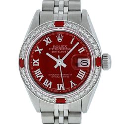 Rolex Ladies Stainless Steel Red Diamond & Ruby Datejust Wristwatch