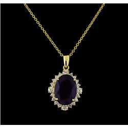 4.40 ctw Amethyst and Diamond Pendant With Chain - 14KT Yellow Gold