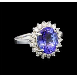 14KT White Gold 3.87 ctw Tanzanite and Diamond Ring