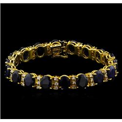 42.04 ctw Blue Sapphire and Diamond Bracelet - 14KT Yellow Gold