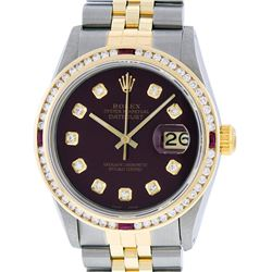 Rolex Mens 2 Tone 14K Maroon & Ruby Channel Set Diamond Datejust Wristwatch