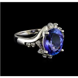 3.73 ctw Tanzanite and Diamond Ring - 14KT White Gold