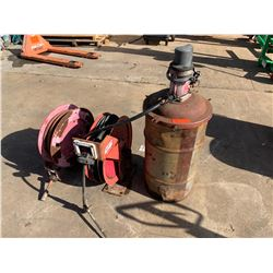 Air Hose Reel and Oil Hose & Tank (Removed from Service Truck)