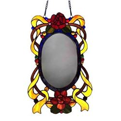 "�LORE� Floral Window Panel Mirror 11""x19"""