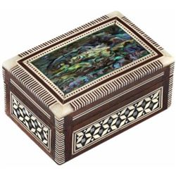 Leolana Egyptian Mother of Pearl & Paua Shell Inlaid Handmade Jewelry Box-Ring