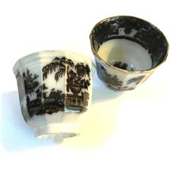 19thc Pair Black Transferware Handleless Tea Cups