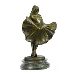 "Fashion Model Skirt Blowing in Wind Marilyn Monroe Bronze Sculpture 13"" x 7.5"""