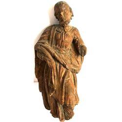 Antique Wooden Religious Saint Carving Artifact