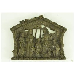 "Baby Jesus, Mary & 3 Magi Nativity Scene Bronze Wall Sculpture 10"" x 12.5"""