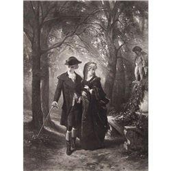 1880's Photogravure Print, Courtship Scene